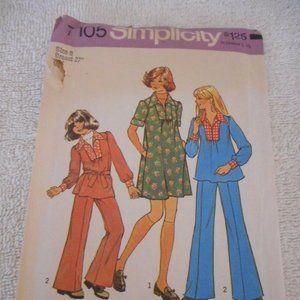 Vntg Simplicity 7105 cut dress top & pants pattern